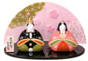 【雛人形/ひな人形】錦彩内裏花雛(ちりめん屏風付)/陶器