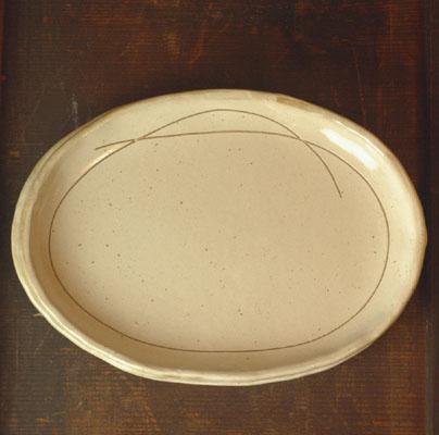【瀬戸粉引】楕円皿
