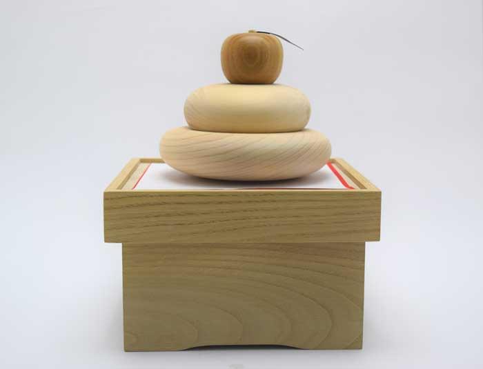 【鏡餅 木】天然木 鏡餅収納兼飾台付き
