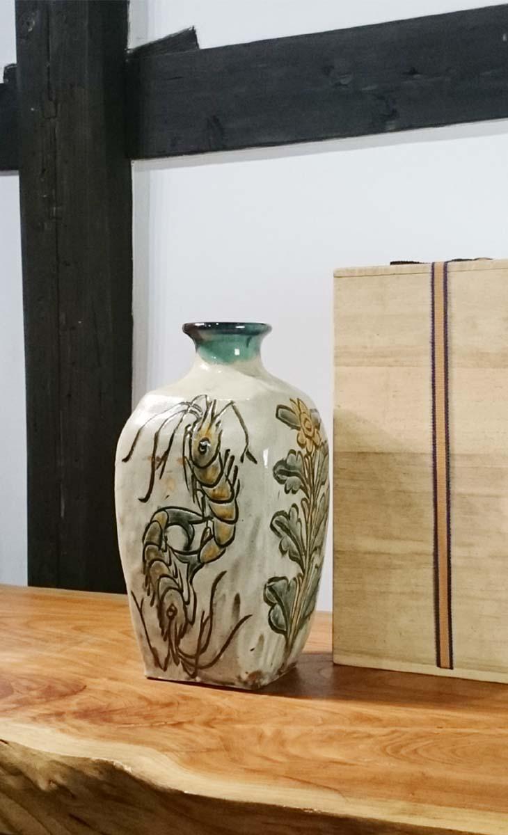 【人間国宝】人間国宝『金城次郎』海老紋花模様角瓶...の商品画像