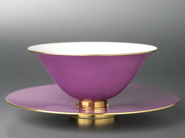 希少 持ち手無し碗皿リュールマン・赤紫色SEVRES洋食器直輸入販売