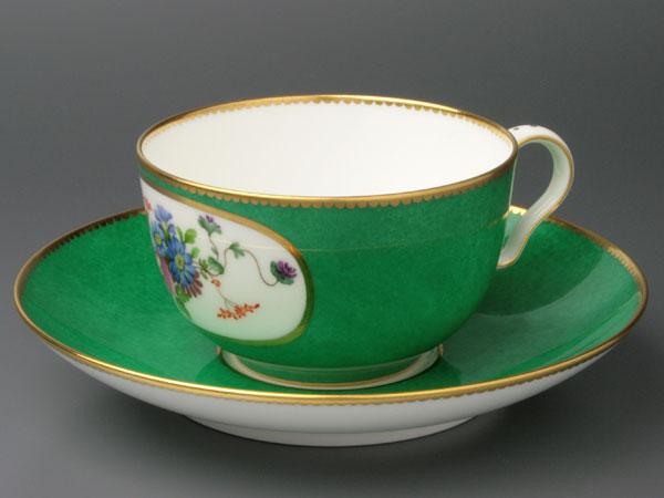 セーブルティーカップ彩色地花紋様V1超希少洋食...の紹介画像2