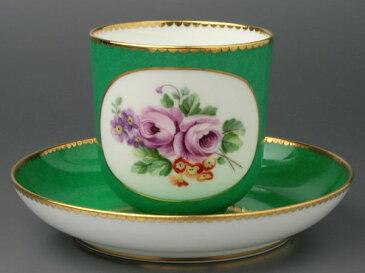 セーブルコーヒーカップ彩色地花紋様V1超希少洋食器 陶磁器フランス SEVRES