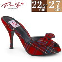 お取寄せ ミュール サンダル 赤チェック 11cmヒール レディース ピンヒール キャバ ヒール パーティー カジュアル 美脚 大きいサイズ 靴 Pleaser プリーザー PIN UP COUTURE ピンナップクチュール MONROE08/RPFA