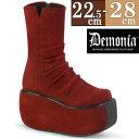 Demonia/デモニア 取寄せ 厚底ブーツ バーガンディ ワインレッド フェイクスウェード 合皮 靴 レディース ショートブーツ ロック パンク ゴスパン V系ステージ イベント 大きい サイズ コスプレ VIOLET100/RVSUE