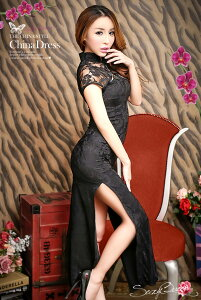 チャイナ服チャイナドレス女性コスチューム半袖ロングチャイナワンピスリット衣装黒赤花テイストセクシーコスプレ衣装大人こすぷれcosコスハロウィンコスプレコスチューム衣装
