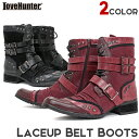 メンズ ブーツ 靴[LOVEHUNTER ラブハンター]レースアップベルトブーツ 6800 お兄系 スタッズ ポインテッド ヒール  【あす楽】【02P03Dec16】