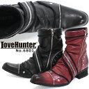 ブーツ メンズ サイドジップ シャーリング レザー革 お兄系 ホスト きれいめ カジュアル おしゃれ 【LOVEHUNTER ラブハンター】6801