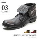 【SALE】ブーツ メンズ スタッズ 鋲 レースアップ ショートブーツ カジュアル おしゃれ 【LOVEHUNTER ラブハンター】 6998