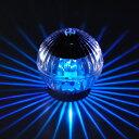 【ブルー】まわって光る5灯LED!★LEDソーラーボールライトミニ フラッシュ【ブルー】(07-7787)ソーラー充電で電源不要!防水で雨の日も安心!▼