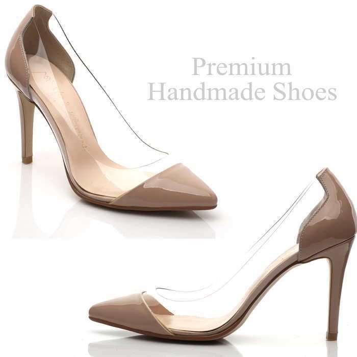 クリア異素材切り替えレザーパンプス レザーパンプス 本革パンプス ハンドメイドシューズ 靴通販 22cm/22.5cm/23cm/23.5cm/24cm/24.5cm/25cm/25.5cm/26cm クリア 異素材切り替え レザーパンプス 本革パンプス ハンドメイドシューズ 靴通販人気のあります