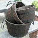 SWD-10 樫ウッド樽プランター3サイズセット(SML) 【鉢 樽 樫の木】