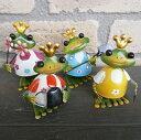 ブリキのカエル「ミニキング」4種セット【カエル 置物 ブリキ】