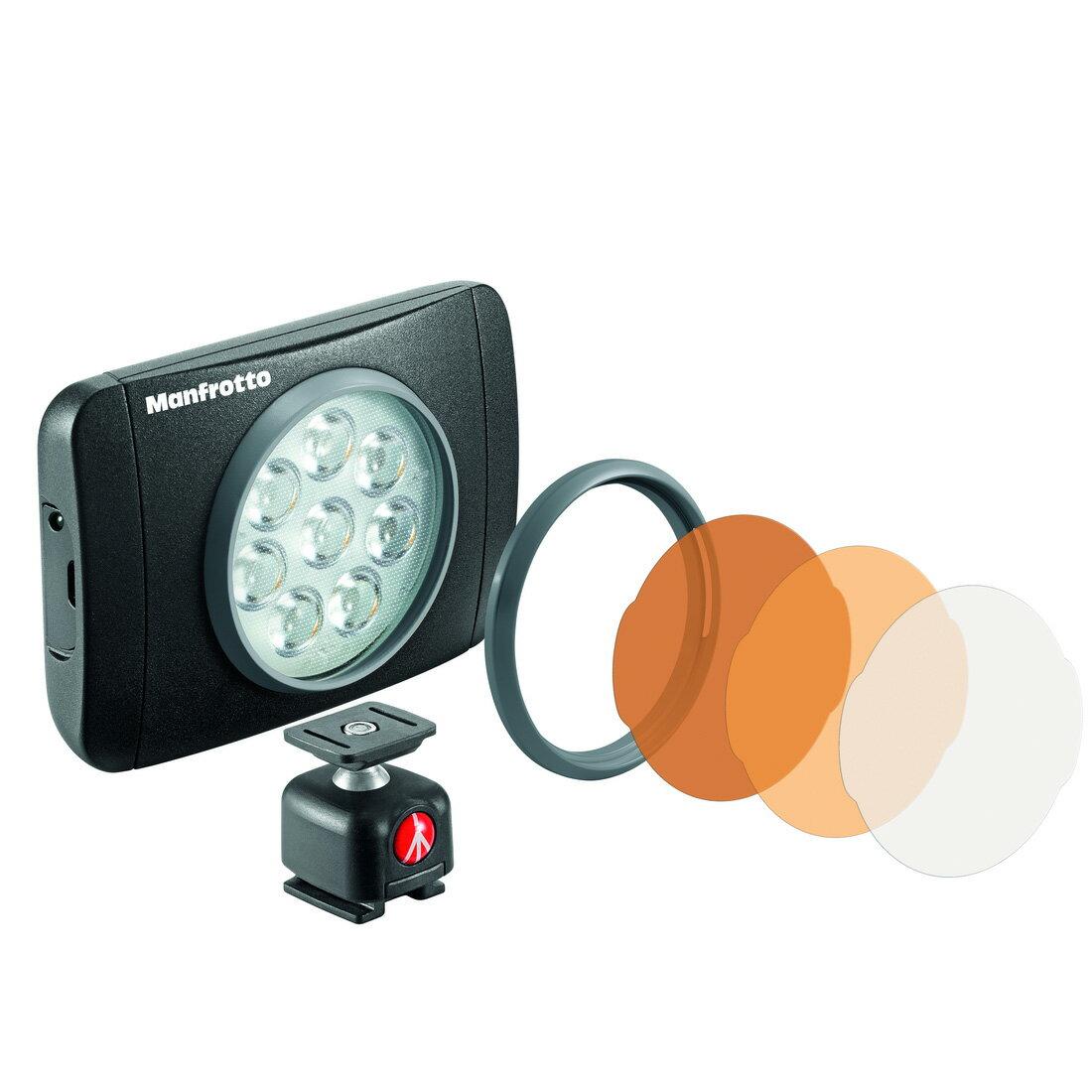 【メール便 送料無料】 マンフロット MLUMIEMU-BK LUMI MUSE LEDライト 550lux [色温度5600K/照度550ルクス/三脚&ホットシューに取り付け可/撮影用LEDライト/Manfrotto]