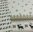 綿麻 生地 北欧風 クリスマス 10cm単位 日本製 手芸 ...