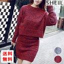【送料無料】セットアップ 上下セットニットセーター 大きいサイズ 春 赤 グレー レディース