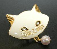 白猫♪にゃんこと極上あこや本真珠帯留め【楽ギフ_包装】【あす楽対応】