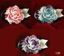 美しい大輪の牡丹(水色・藤色・紅色)の3色から選べる!透かし帯留め 【和装 真珠 お花 四分紐に対応】
