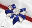 あこや本真珠が美しいブルーリボン 帯留め【パーティ パール 和装 着物 帯飾り】