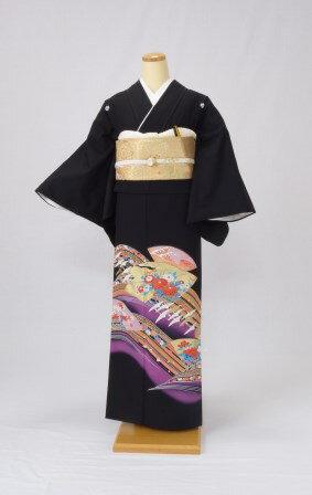 黒留袖 レンタル 着物 黒留袖 K3 紫雲取りに...の商品画像