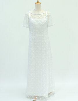 ウェディングドレス レンタル 9号「半袖レース重...の商品画像