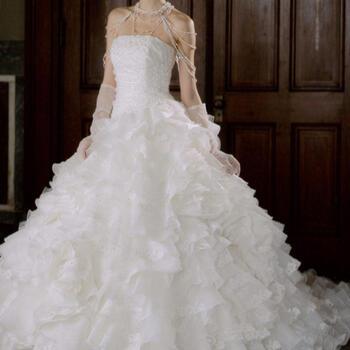 ウェディング ドレス レンタル(7〜11号)[pl004]「グリッターカットレース2WAYドレス」【豪華スカートメガ盛りドレスはなんとフリルスカートを取り外して清楚な花嫁にも変身できちゃうお得なドレス!キラキラスカートが輝きを放ちます!】【fy16REN07】