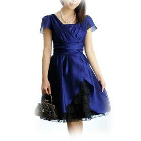 パーティードレスレンタル「紺×ブラック裾フリル」