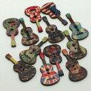 (12個セット)ギター ウッド ボタン 二つ穴 手芸 パーツ 楽器 ハンドメイド 木 音楽 ナチュラル ミックス