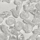 (10個セット)マリンモチーフのアクリルビーズ 貝 海星 アンモナイト 魚 タツノオトシゴ シェル ヒトデ ホワイト クリア ハンドメイド 手芸パーツ