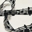 楽譜柄のリボンテープ/音楽/手芸/ブラック/パーツ/タグテープ/ハンドメイド素材/音符