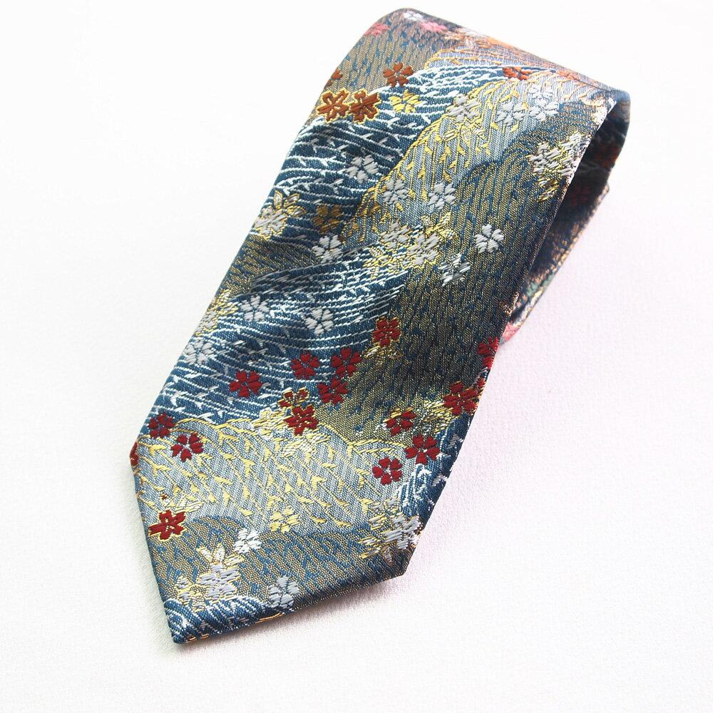 四季彩ブランドの最高級和柄ネクタイ 和柄で一本一本ハンドメイドで作製 日本製ブランドの一品 青金襴