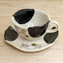 コーヒーカップ&ソーサー 黒椿コーヒーカップ 陶器 和風 業務用 美濃焼