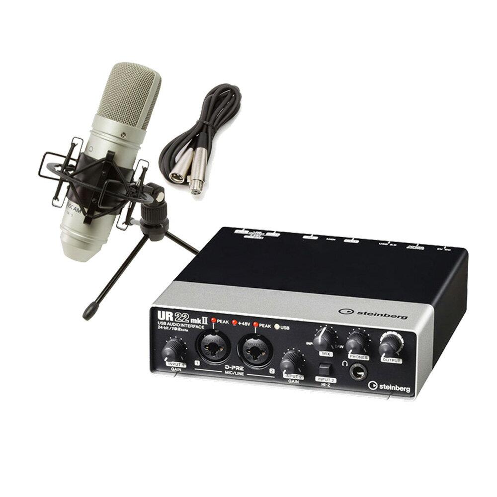steinbergUR22mkII+TM-80高音質配信録音セットTASCAMコンデンサーマイク一式