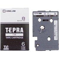 【キングジム】 テプラTRテープ TC6S 白に黒文字 6mm