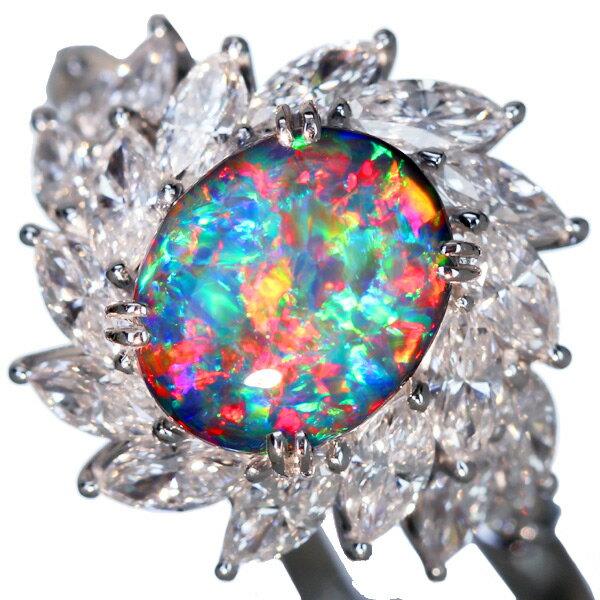 PT900 2.827ctブラックオパール リング 2.175ct ダイヤモンド【送料無料】