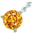 K18 スペサタイトガーネット 1.06ct ペンダントトップ ダイヤモンド 0.06ct