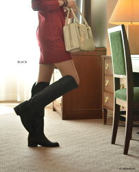 春・秋・冬の3シーズンふんだんに使える、大人の美脚ニーハイ。CORSOROMA9コルソローマ9イタリア製ヌバックレザー本革ロングぺたんこローヒール太ヒールスエードブラックグレーレディース靴(ブランドファッション)【楽ギフ_包装】