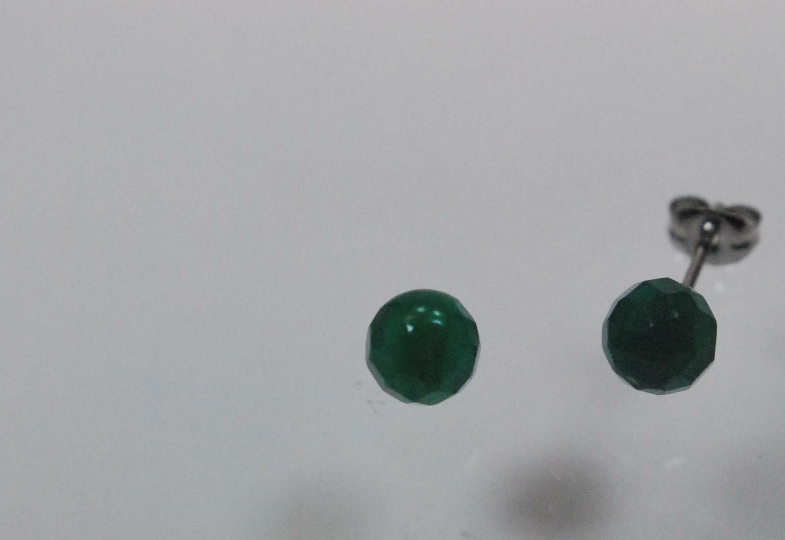 天然石 グリーンアゲート 6mm チタン 直結 ピアス   532P15May16   ポイント5倍