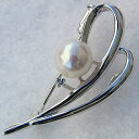 6月誕生石 真珠 パール ブローチ あこや本真珠 7.5mm ホワイトゴールド【RCP】