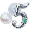 真珠 パール ブローチ 真珠 パール ラッキーナンバー5 タイニーピン ホワイトゴールド ベビーパール 5月誕生石 エメラルド【RCP】