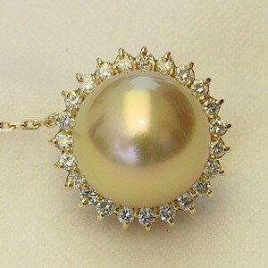 真珠 パール ブローチ ピンズ ピンブローチ ラペルピン 南洋白蝶真珠 タイタック ダイヤモンド パール ゴールド系 12mm K18 ゴールド【RCP】 太陽のような輝き