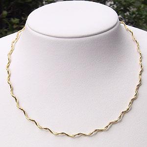 チェーン デザイン ネックレス K18 ゴールド スプリング ウェーブ オメガ ネックレス 42cm【RCP】 華やかなイエローゴールド スプリングウェーブオメガネックレス【一般】