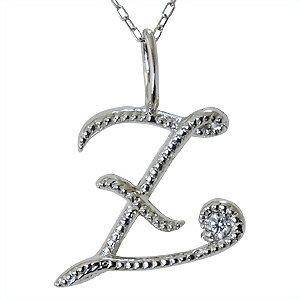 イニシャルZ ペンダントネックレス ダイヤモンド 0.01ct K10WG ホワイトゴールド 【送料無料】【品質保証書付】【RCP】 胸元を飾る イニシャル【Z】ダイヤモンドペンダント