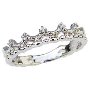 ダイヤモンドリング ティアラリング 王冠 ダイヤモンド 指輪 ダイヤ 0.03ct K18 ホワイトゴールド【RCP】 お姫様になれる ダイヤモンドティアラリング