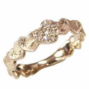 ハートリング ダイヤモンドリング 指輪 ハートモチーフ ピンクゴールド K10 ダイヤ 0.06ct【RCP】 ハートモチーフのダイヤモンドリングピンクゴールド