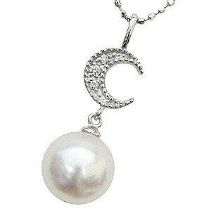 真珠パール ペンダント あこや本真珠 K18WG ホワイトゴールド 真珠の直径8mm ピンクホワイト系 ダイヤモンド 3石 0.02ct ペンダント 6月の誕生石【RCP】 ピンクホワイトが輝くあこや本真珠のペンダント