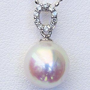 パール ペンダントトップ あこや本真珠 直径8.5mm アコヤ ダイヤモンド 0.05ct PT900 プラチナ【RCP】 高品質パールとサークルダイヤモンドの輝きが美しい