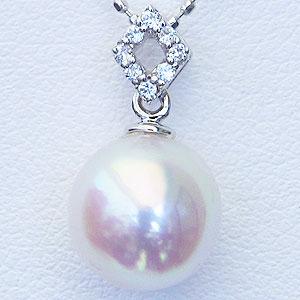 真珠パール 6月誕生石 ペンダントヘッド あこや本真珠 直径8.5mm ペンダントトップ アコヤ ダイヤモンド 0.04ct K18WG ホワイトゴールド【RCP】 あこや本真珠とダイヤモンドデザインの煌めきペンダント