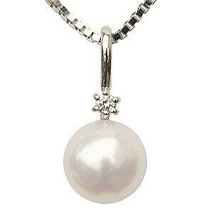 ネックレスペンダント あこや真珠パール K18ホワイトゴールドネックレス ダイヤモンド【RCP】 ペンダントパールあこや真珠 K18ホワイトゴールドプレゼント