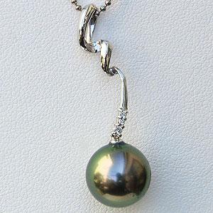 真珠 パール ペンダントトップ タヒチ黒蝶真珠 10mm【RCP】 ウェーブが美しいスタイリッシュデザインはやい